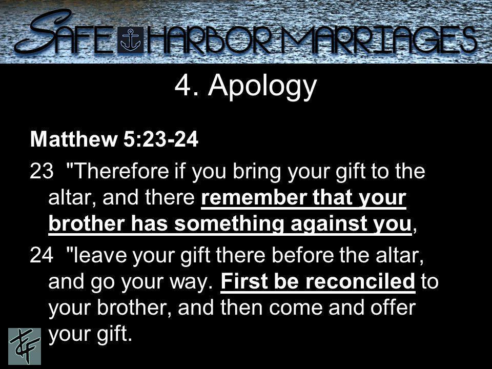4. Apology Matthew 5:23-24 23