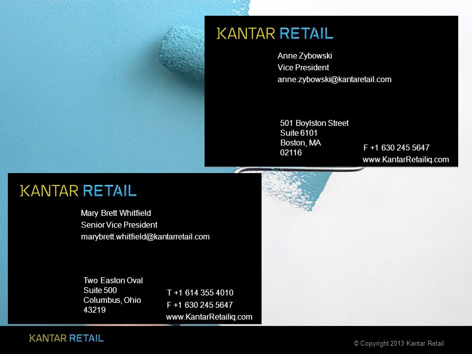 © Copyright 2013 Kantar Retail 501 Boylston Street Suite 6101 Boston, MA 02116 F +1 630 245 5647 www.KantarRetailiq.com Two Easton Oval Suite 500 Colu
