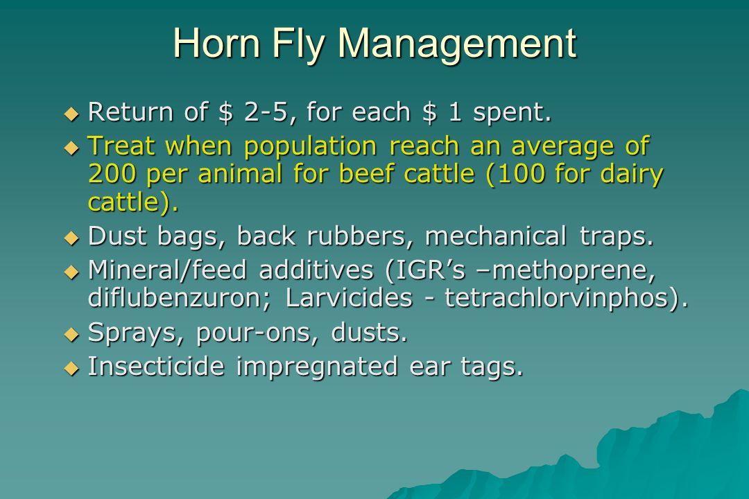 Horn Fly Management Return of $ 2-5, for each $ 1 spent. Return of $ 2-5, for each $ 1 spent. Treat when population reach an average of 200 per animal