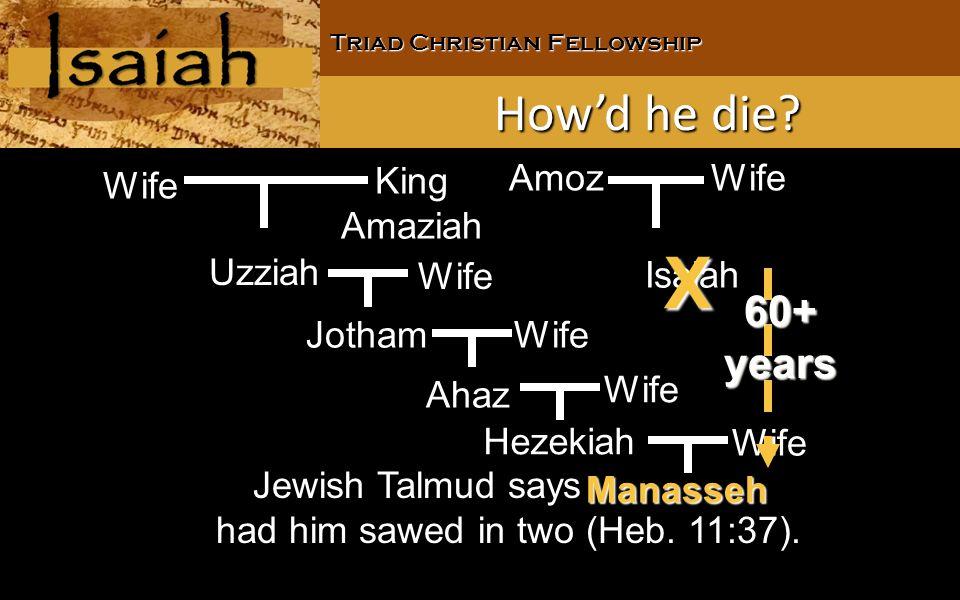 Triad Christian Fellowship Jewish Talmud says Manasseh had him sawed in two (Heb.