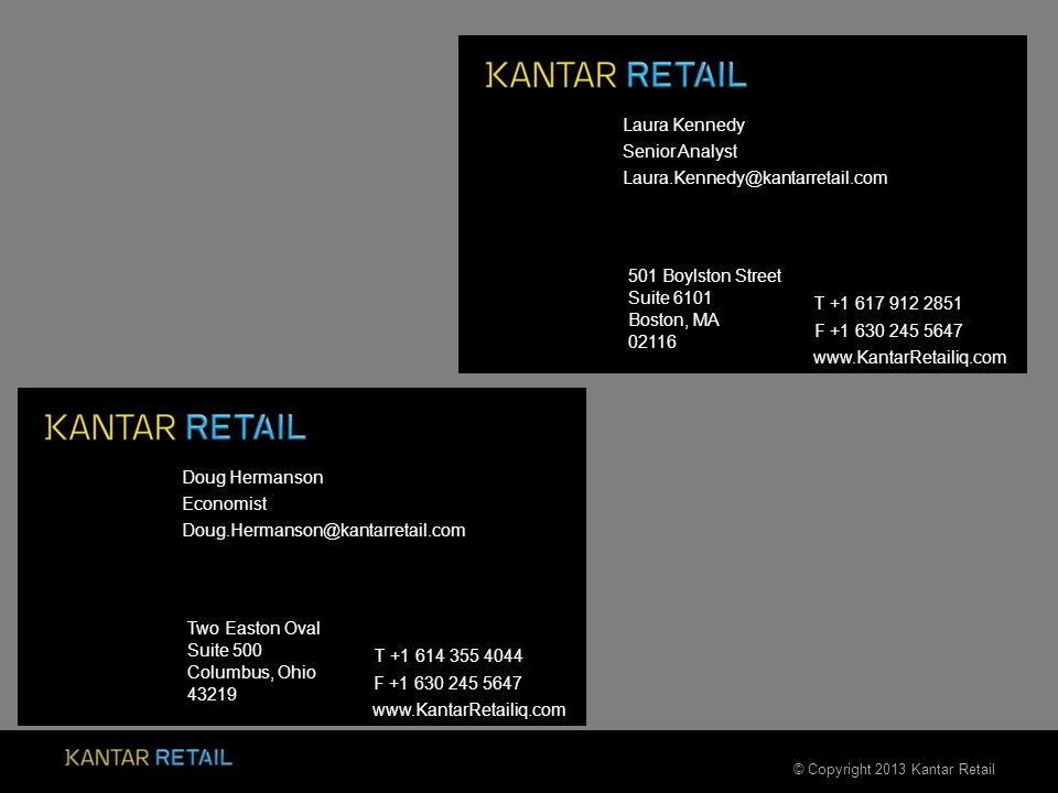 © Copyright 2013 Kantar Retail 501 Boylston Street Suite 6101 Boston, MA 02116 F +1 630 245 5647 www.KantarRetailiq.com Two Easton Oval Suite 500 Columbus, Ohio 43219 F +1 630 245 5647 www.KantarRetailiq.com Laura Kennedy Senior Analyst Laura.Kennedy@kantarretail.com T +1 617 912 2851 Doug Hermanson Economist Doug.Hermanson@kantarretail.com T +1 614 355 4044