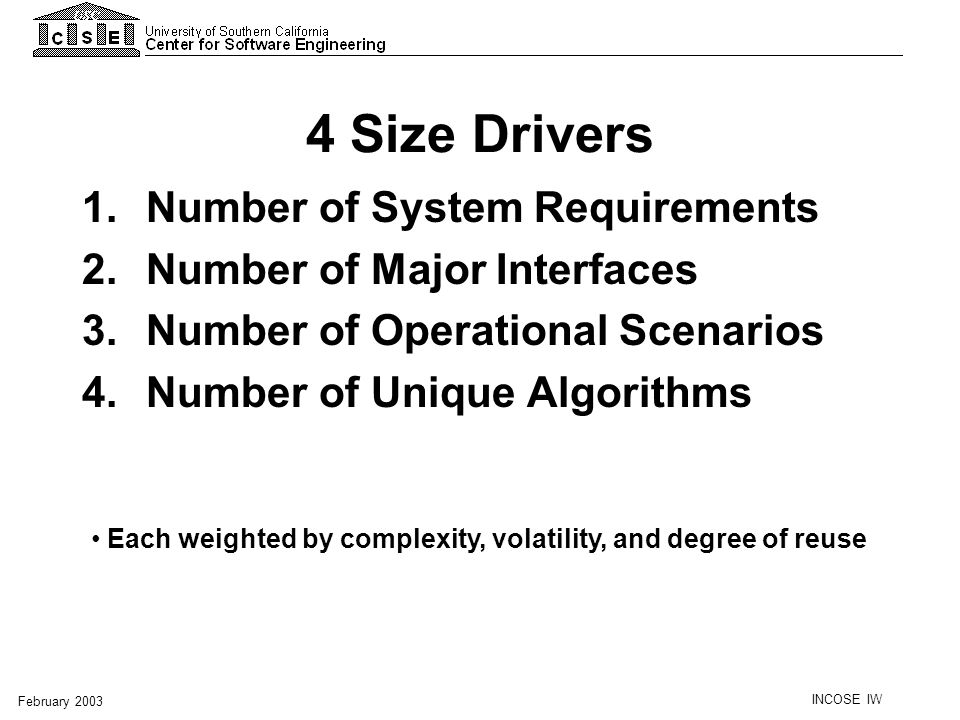 INCOSE IW February 2003 4 Size Drivers 1. Number of System Requirements 2. Number of Major Interfaces 3. Number of Operational Scenarios 4. Number of
