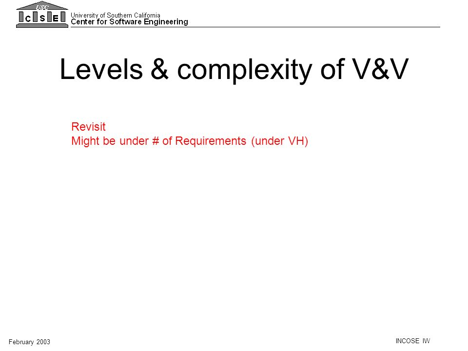 INCOSE IW February 2003 Levels & complexity of V&V Revisit Might be under # of Requirements (under VH)