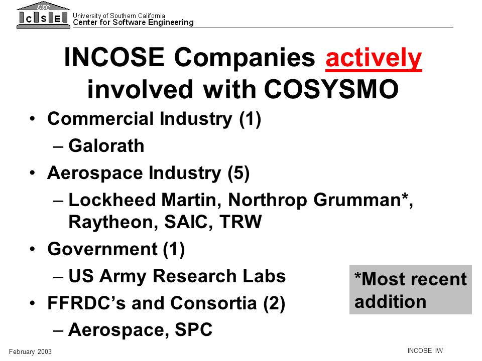INCOSE IW February 2003 ISO/IEC 15288 System of Interest Structure Make or buy Source: ISO/IEC 15288.
