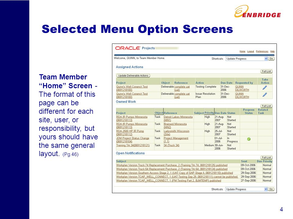 4 Selected Menu Option Screens Team Member Home Screen - The format of this page can be different for each site, user, or responsibility, but yours should have the same general layout.