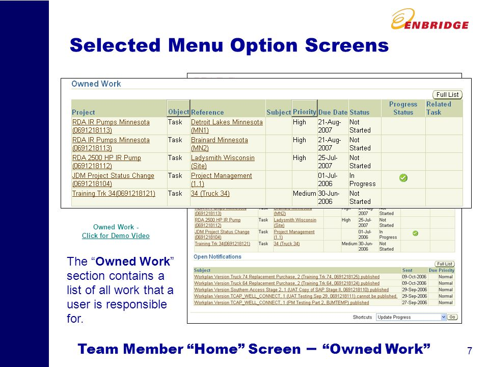 8 Selected Menu Option Screens Team Member Home Screen – Notifications The bottom section contains all of yourOpen Notifications Open Notifications are system generated messages (think of them as notification e-mails) that are sent based on events occurring in Oracle.