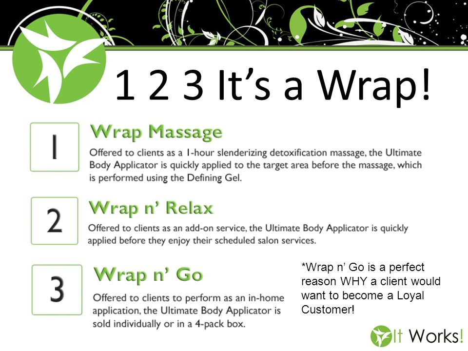 1 2 3 Its a Wrap! *Wrap n Go is a perfect reason WHY a client would want to become a Loyal Customer!
