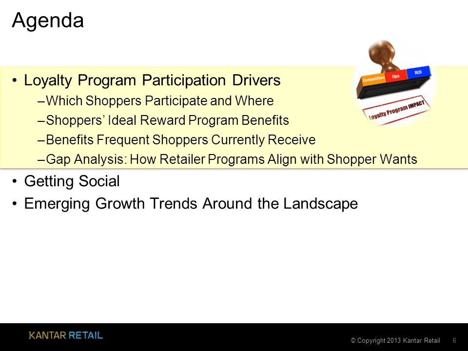 © Copyright 2013 Kantar Retail Agenda Loyalty Program Participation Drivers –Which Shoppers Participate and Where –Shoppers Ideal Reward Program Benef
