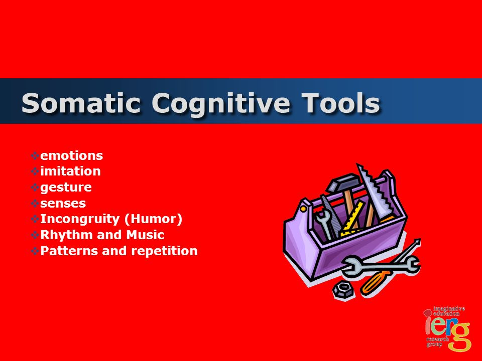 Somatic Cognitive Tools emotions imitation gesture senses Incongruity (Humor) Rhythm and Music Patterns and repetition