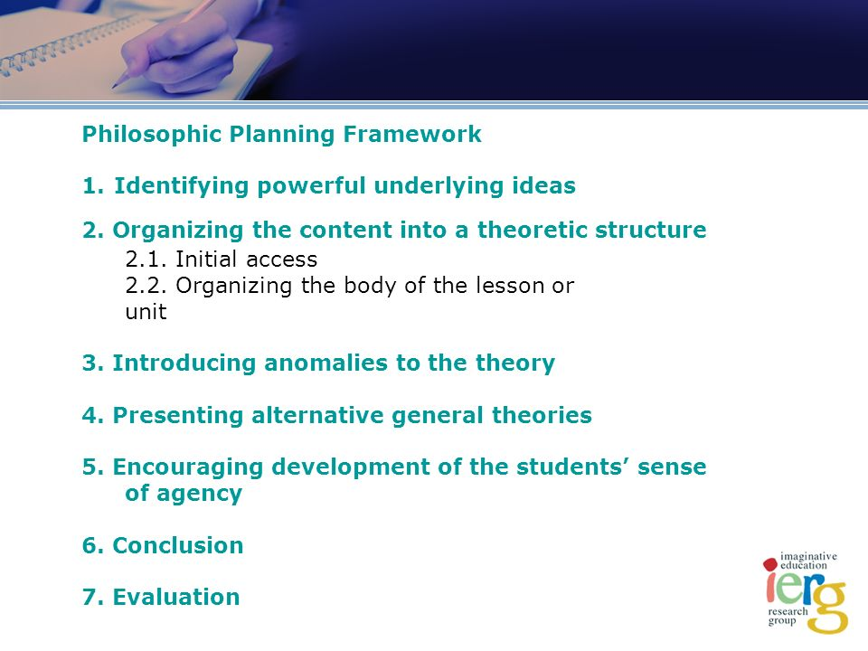 Philosophic Planning Framework 1.Identifying powerful underlying ideas 2.