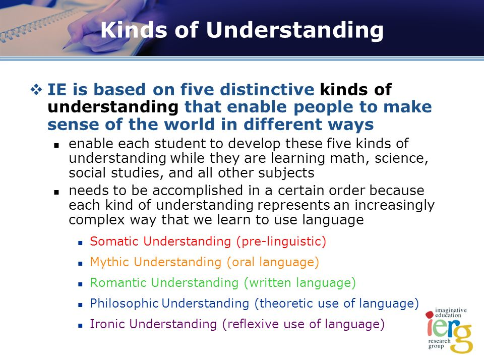 Kinds of Understanding IE is based on five distinctive kinds of understanding that enable people to make sense of the world in different ways enable each student to develop these five kinds of understanding while they are learning math, science, social studies, and all other subjects needs to be accomplished in a certain order because each kind of understanding represents an increasingly complex way that we learn to use language Somatic Understanding (pre-linguistic) Mythic Understanding (oral language) Romantic Understanding (written language) Philosophic Understanding (theoretic use of language) Ironic Understanding (reflexive use of language)