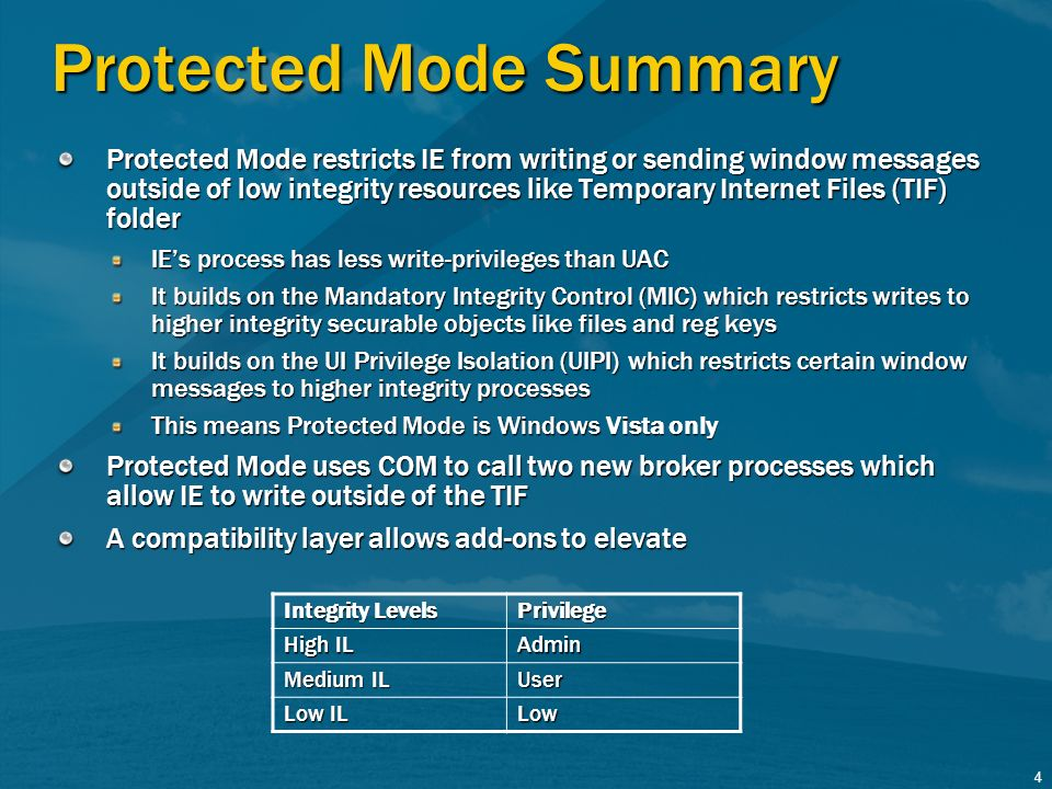 4 Protected Mode Summary Protected Mode restricts IE from writing or sending window messages outside of low integrity resources like Temporary Interne