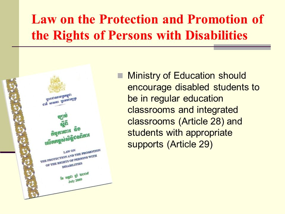 Law on the Protection and Promotion of the Rights of Persons with Disabilities Ministry of Education should encourage disabled students to be in regul