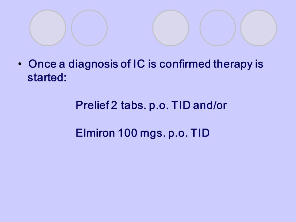 Once a diagnosis of IC is confirmed therapy is started: Prelief 2 tabs. p.o. TID and/or Elmiron 100 mgs. p.o. TID