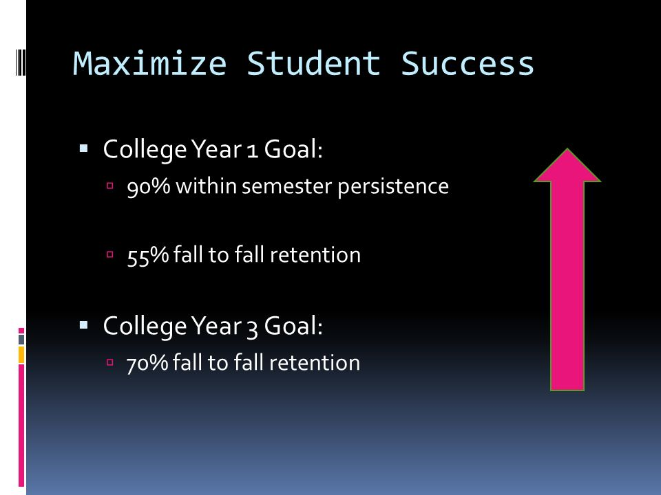 Maximize Student Success College Year 1 Goal: 90% within semester persistence 55% fall to fall retention College Year 3 Goal: 70% fall to fall retenti