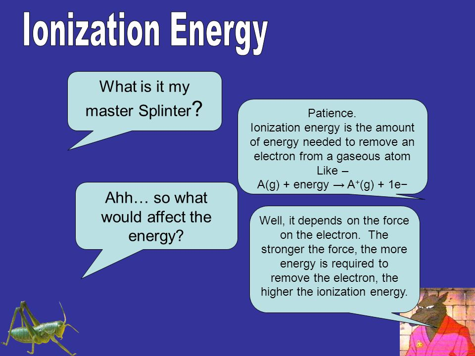 What is it my master Splinter ? Patience. Ionization energy is the amount of energy needed to remove an electron from a gaseous atom Like – A(g) + ene