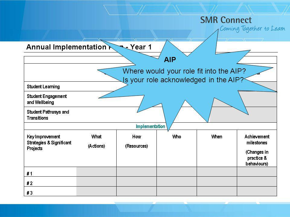 Annual Implementation Plan - Year 1 Where would your role fit into the AIP? Is your role acknowledged in the AIP? AIP