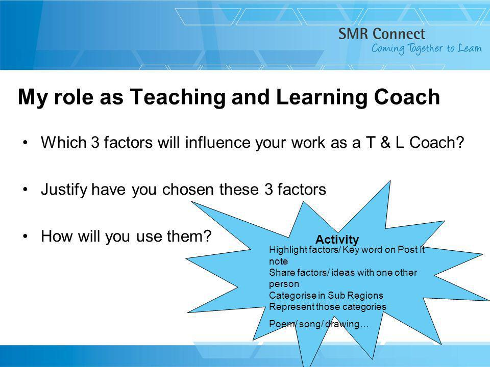 My role as Teaching and Learning Coach Which 3 factors will influence your work as a T & L Coach? Justify have you chosen these 3 factors How will you
