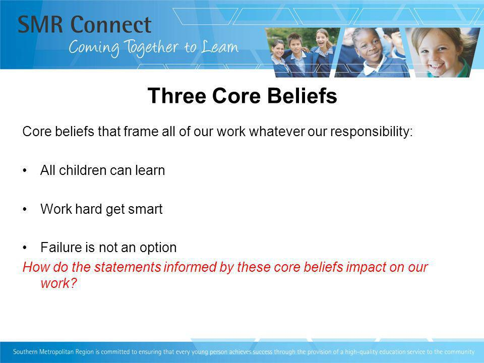 Three Core Beliefs Core beliefs that frame all of our work whatever our responsibility: All children can learn Work hard get smart Failure is not an o