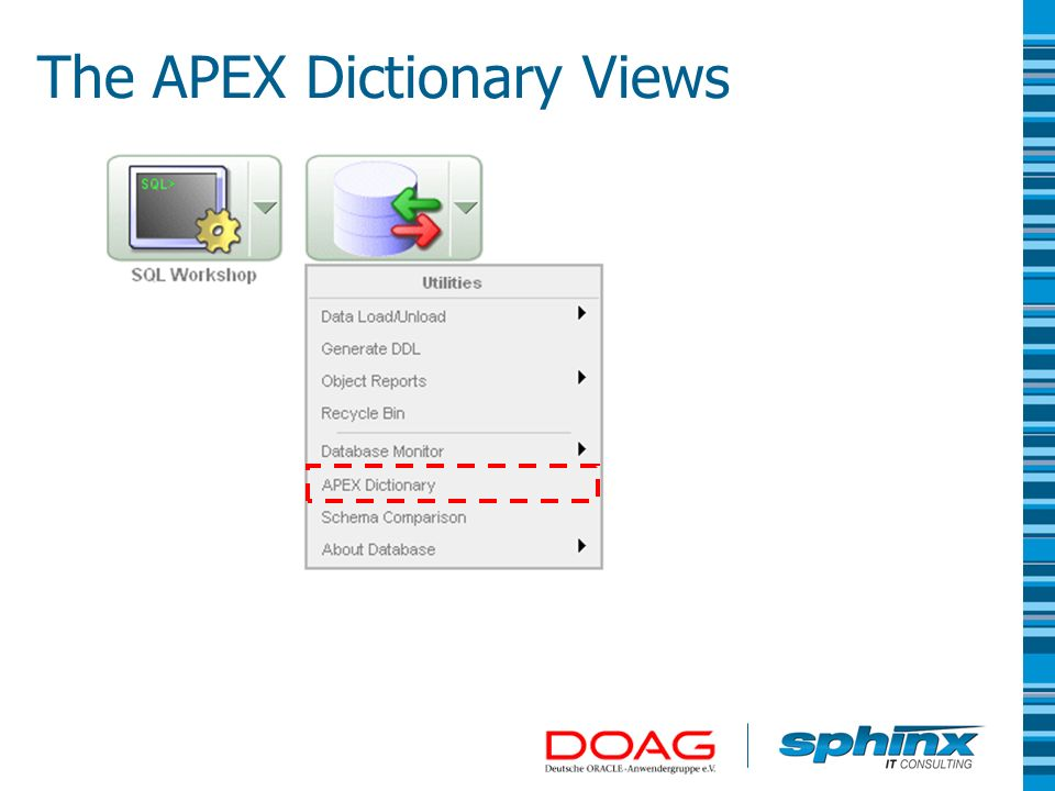 Select Tree view The APEX Dictionary Views