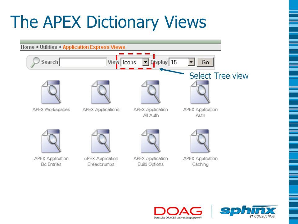 Hierarchical representation The APEX Dictionary Views