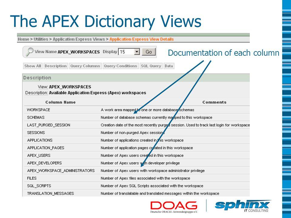 The APEX Dictionary Views