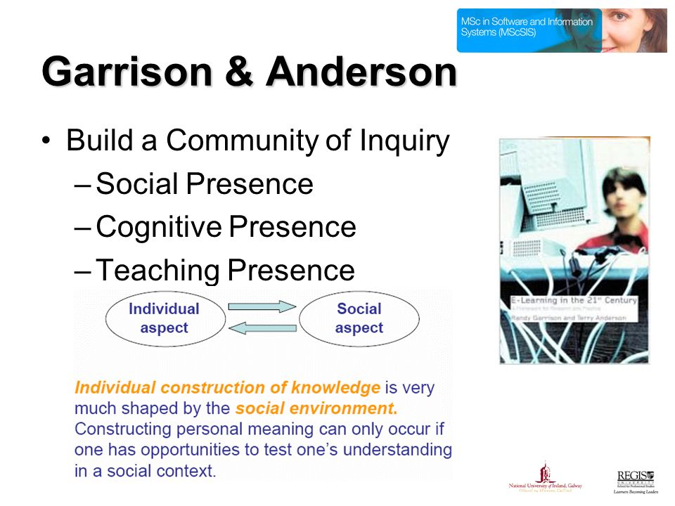 Garrison & Anderson Build a Community of Inquiry –Social Presence –Cognitive Presence –Teaching Presence