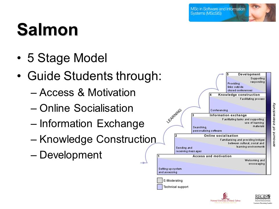 Salmon 5 Stage Model Guide Students through: –Access & Motivation –Online Socialisation –Information Exchange –Knowledge Construction –Development
