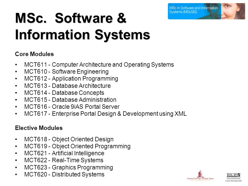 MSc. Software & Information Systems Core Modules MCT611 - Computer Architecture and Operating Systems MCT610 - Software Engineering MCT612 - Applicati