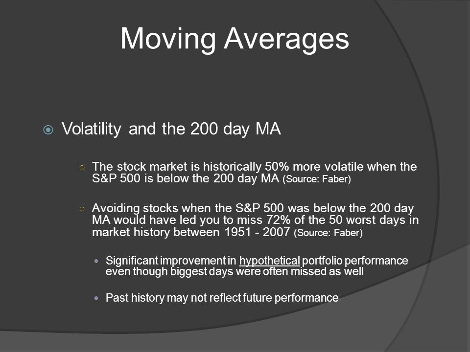 Moving Averages Volatility and the 200 day MA The stock market is historically 50% more volatile when the S&P 500 is below the 200 day MA (Source: Faber) Avoiding stocks when the S&P 500 was below the 200 day MA would have led you to miss 72% of the 50 worst days in market history between 1951 - 2007 (Source: Faber) Significant improvement in hypothetical portfolio performance even though biggest days were often missed as well Past history may not reflect future performance