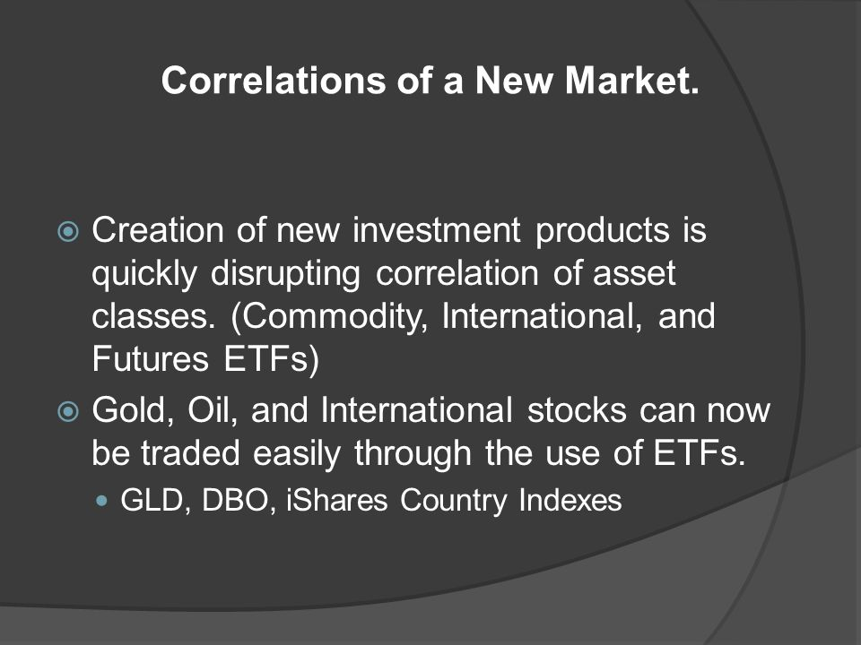 Correlations of a New Market.