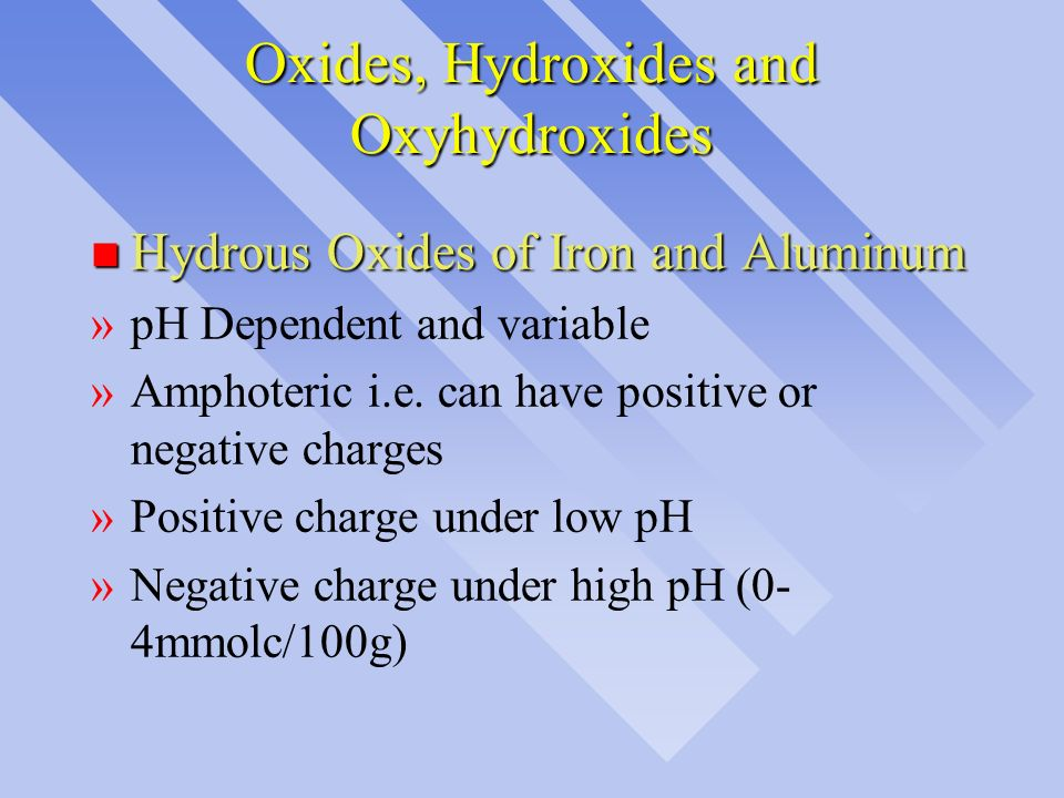 Oxides, Hydroxides and Oxyhydroxides n Hydrous Oxides of Iron and Aluminum »pH Dependent and variable »Amphoteric i.e. can have positive or negative c