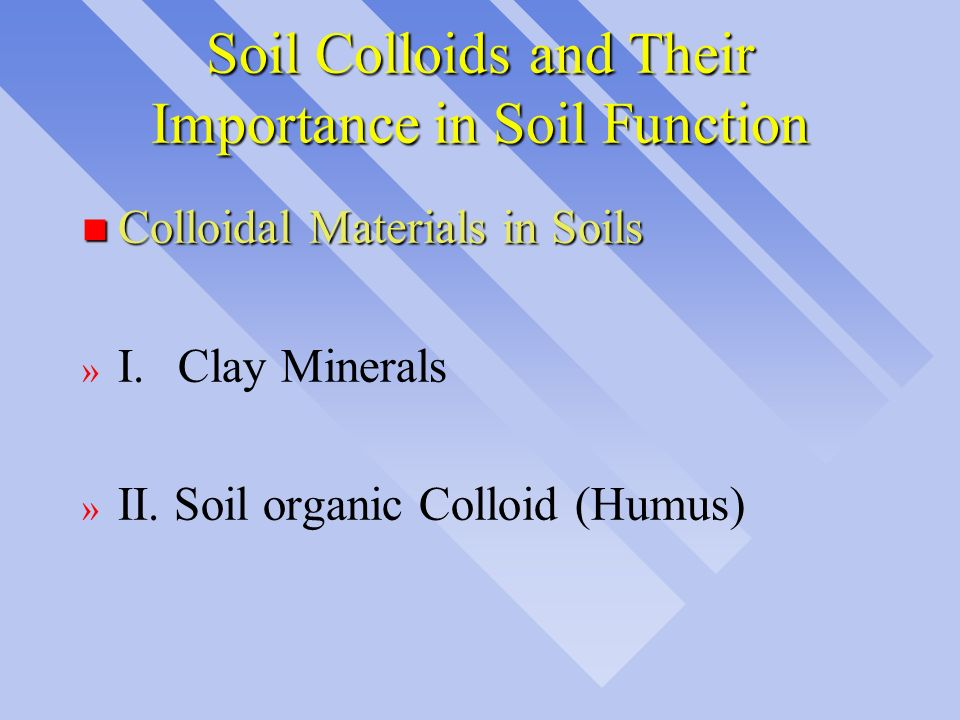 Soil Colloids and Their Importance in Soil Function n Colloidal Materials in Soils » I.Clay Minerals » II. Soil organic Colloid (Humus)