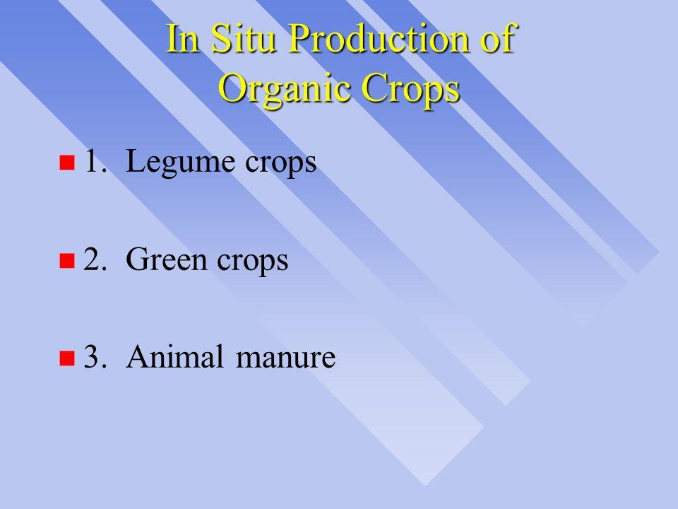 In Situ Production of Organic Crops n 1.Legume crops n 2.Green crops n 3.Animal manure