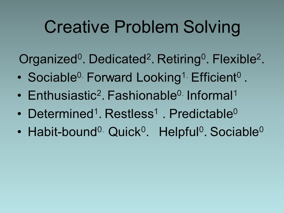 Creative Problem Solving Organized 0. Dedicated 2. Retiring 0. Flexible 2. Sociable 0. Forward Looking 1. Efficient 0. Enthusiastic 2. Fashionable 0.