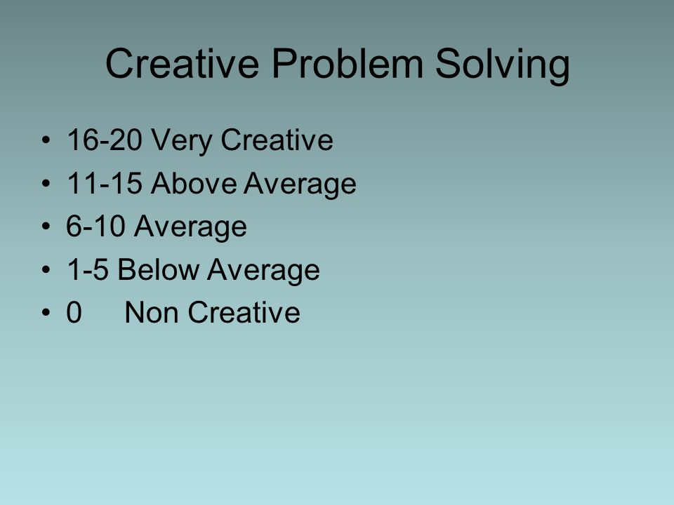 Creative Problem Solving 16-20 Very Creative 11-15 Above Average 6-10 Average 1-5 Below Average 0 Non Creative