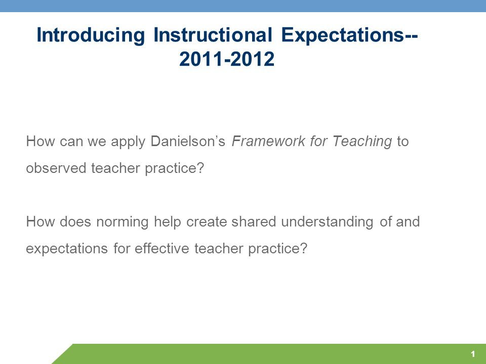 1 Introducing Instructional Expectations-- 2011-2012 How can we apply Danielsons Framework for Teaching to observed teacher practice? How does norming