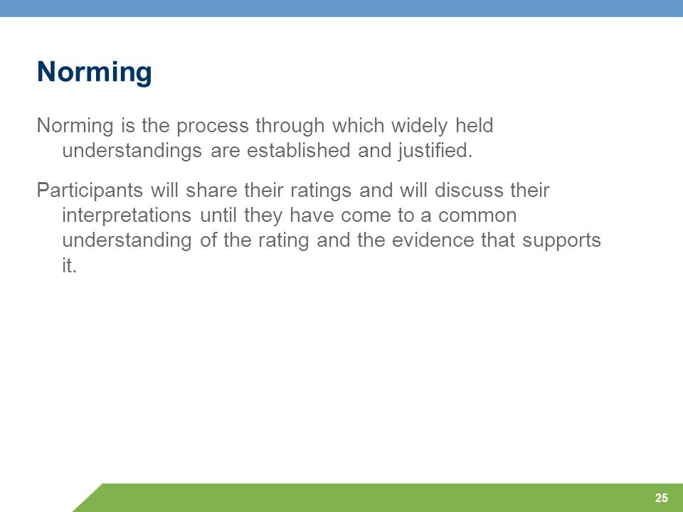 25 Norming Norming is the process through which widely held understandings are established and justified. Participants will share their ratings and wi