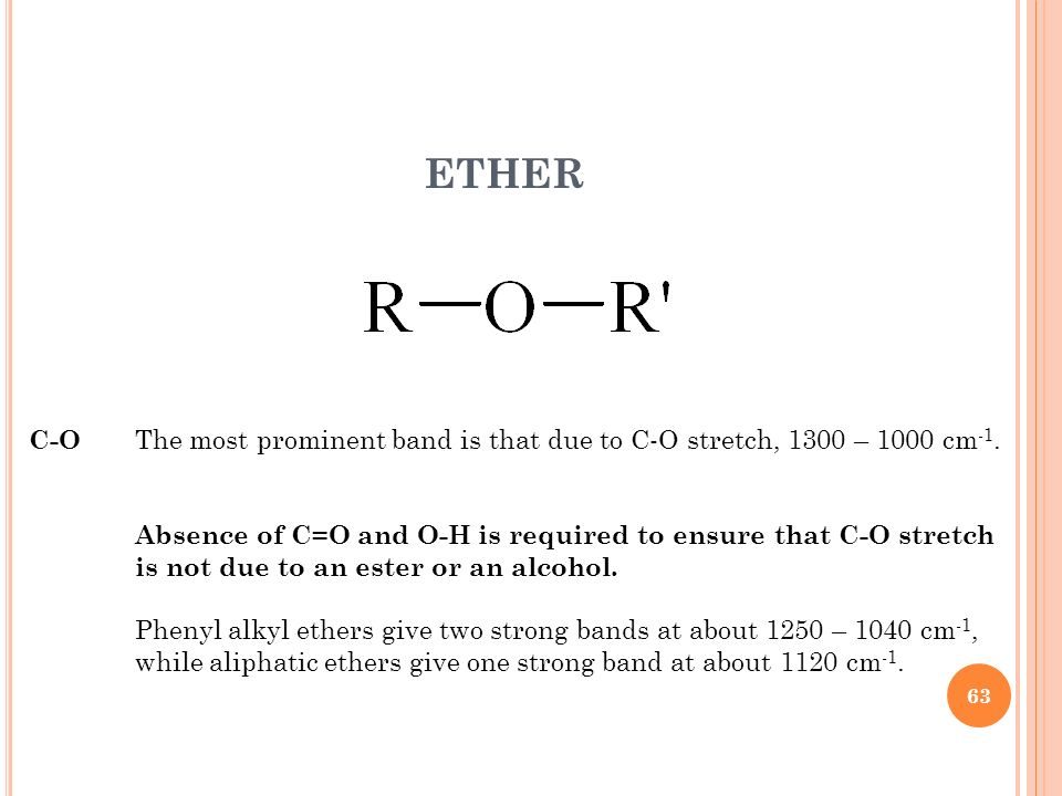 ETHER C-O The most prominent band is that due to C-O stretch, 1300 – 1000 cm -1. Absence of C=O and O-H is required to ensure that C-O stretch is not