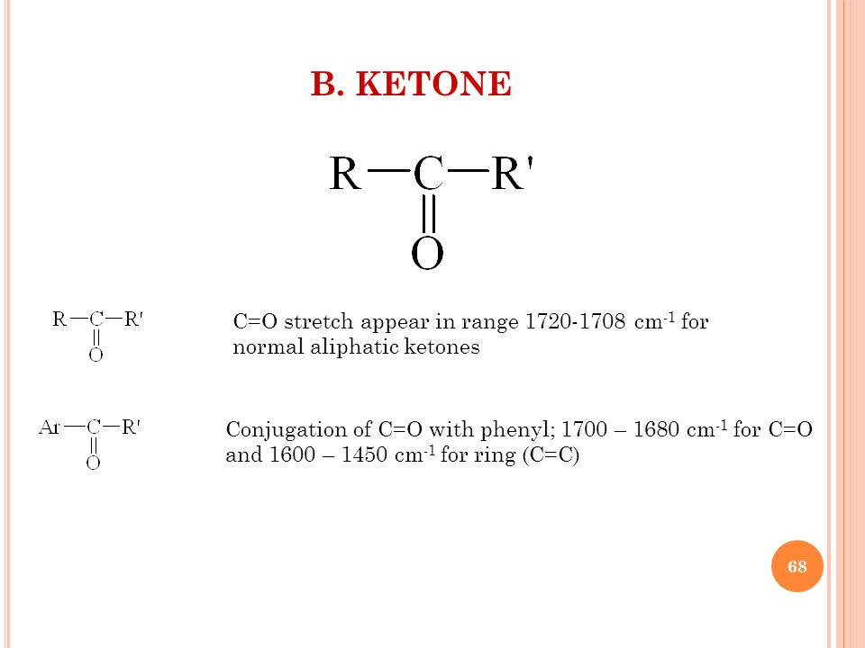 B. KETONE C=O stretch appear in range 1720-1708 cm -1 for normal aliphatic ketones Conjugation of C=O with phenyl; 1700 – 1680 cm -1 for C=O and 1600
