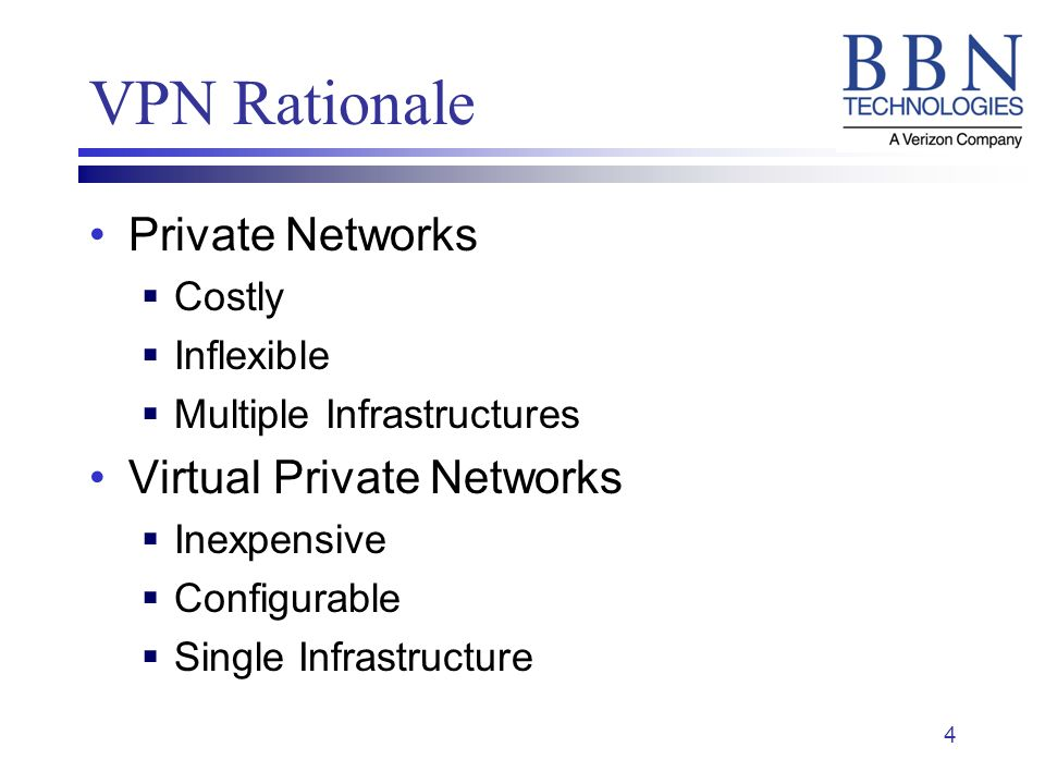 4 VPN Rationale Private Networks Costly Inflexible Multiple Infrastructures Virtual Private Networks Inexpensive Configurable Single Infrastructure