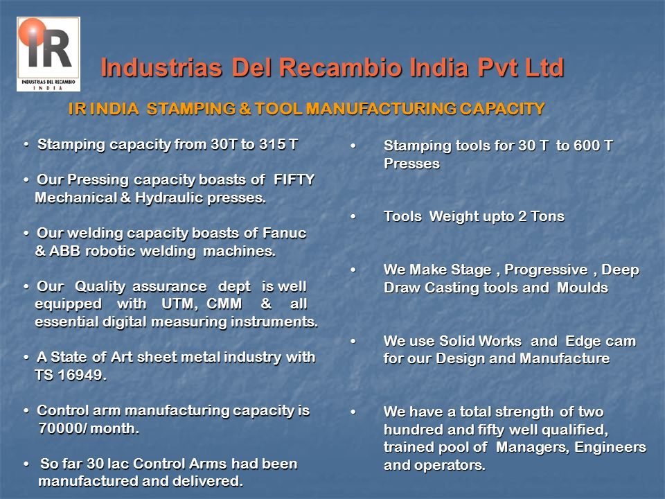 Industrias Del Recambio India Pvt Ltd Stamping capacity from 30T to 315 T Stamping capacity from 30T to 315 T Our Pressing capacity boasts of FIFTY Ou