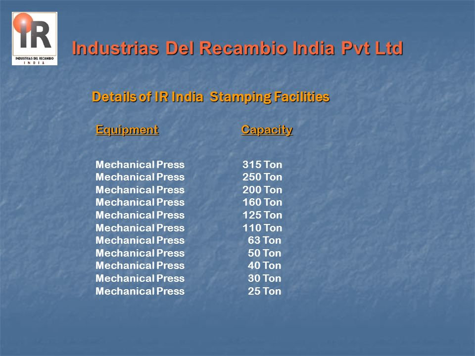 Industrias Del Recambio India Pvt Ltd Details of IR India Stamping Facilities Mechanical Press 315 Ton 250 Ton 200 Ton 160 Ton 125 Ton 110 Ton 63 Ton