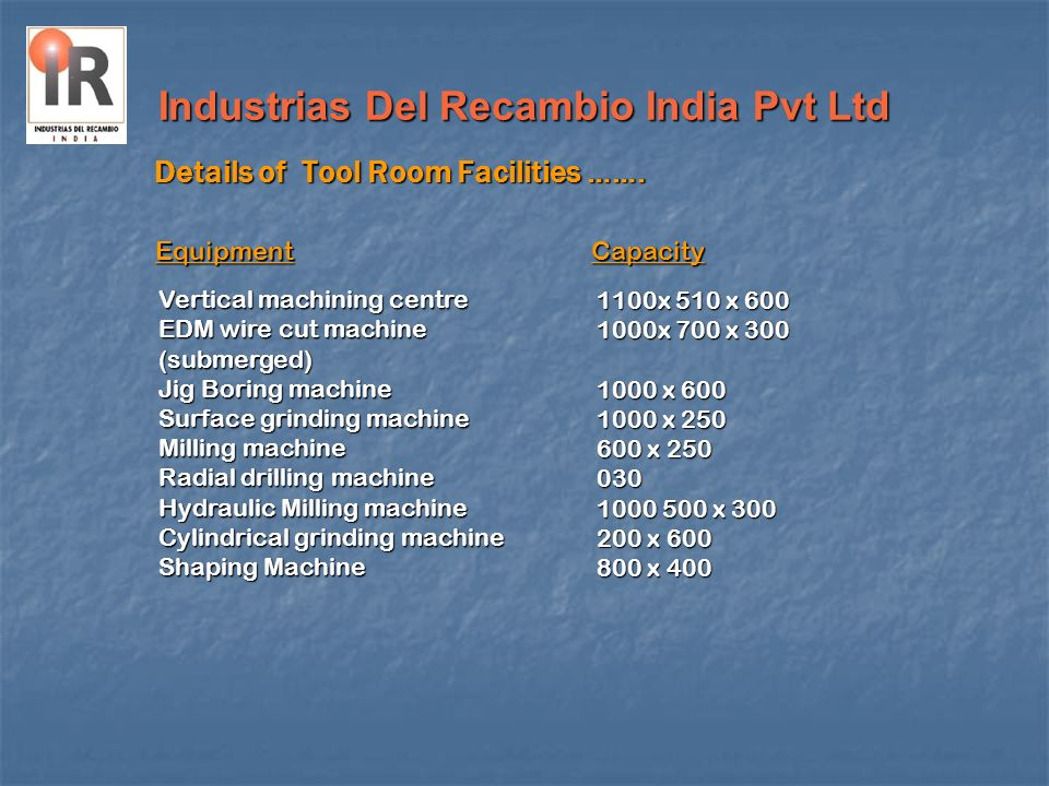 Industrias Del Recambio India Pvt Ltd Details of Tool Room Facilities ……. Vertical machining centre EDM wire cut machine (submerged) Jig Boring machin