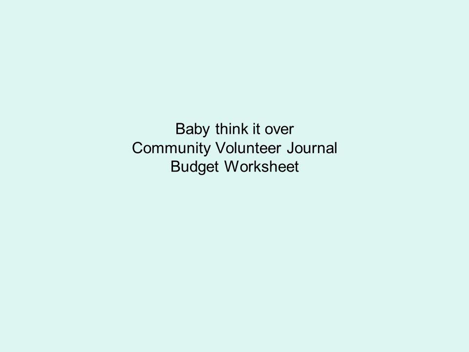 Baby think it over Community Volunteer Journal Budget Worksheet