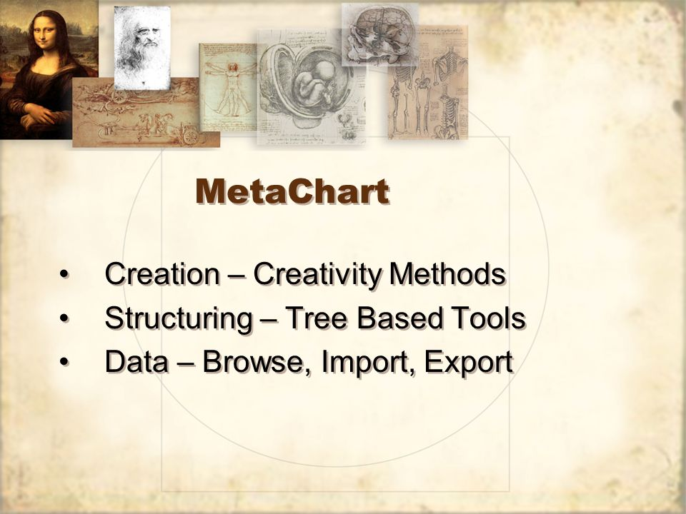 MetaChart Creation – Creativity Methods Structuring – Tree Based Tools Data – Browse, Import, Export Creation – Creativity Methods Structuring – Tree