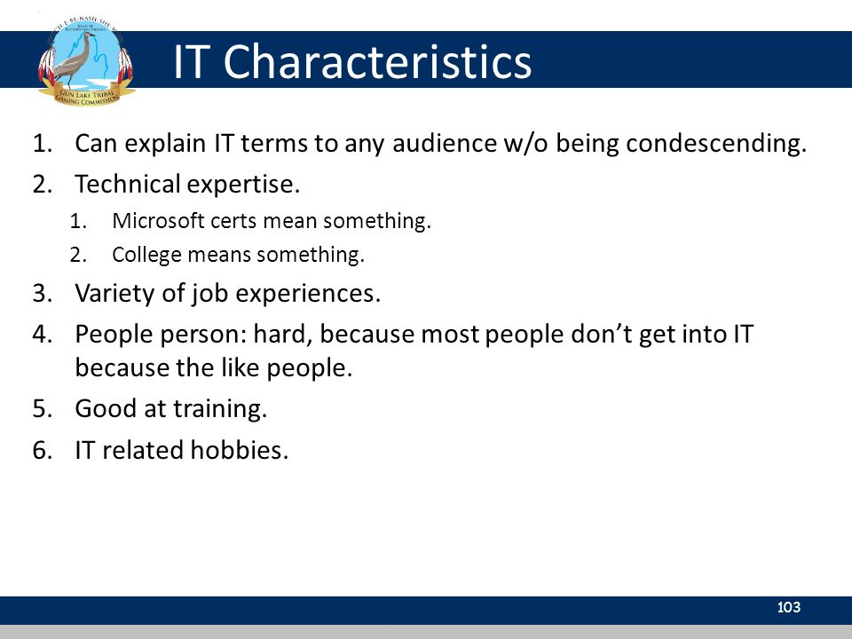 IT Characteristics 103 1.Can explain IT terms to any audience w/o being condescending.