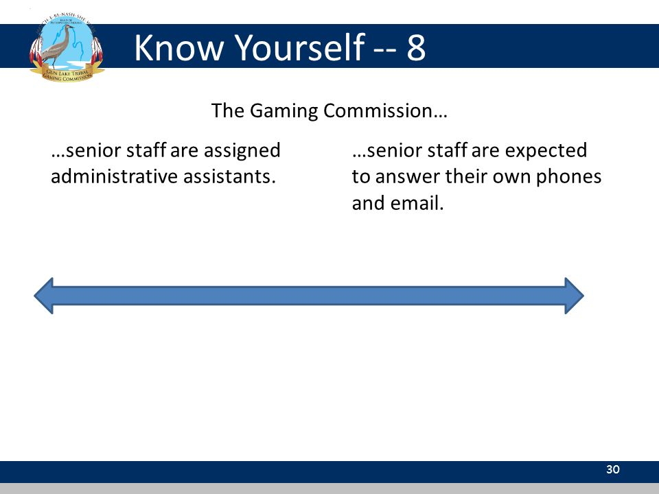 Know Yourself -- 8 30 The Gaming Commission… …senior staff are assigned administrative assistants. …senior staff are expected to answer their own phon