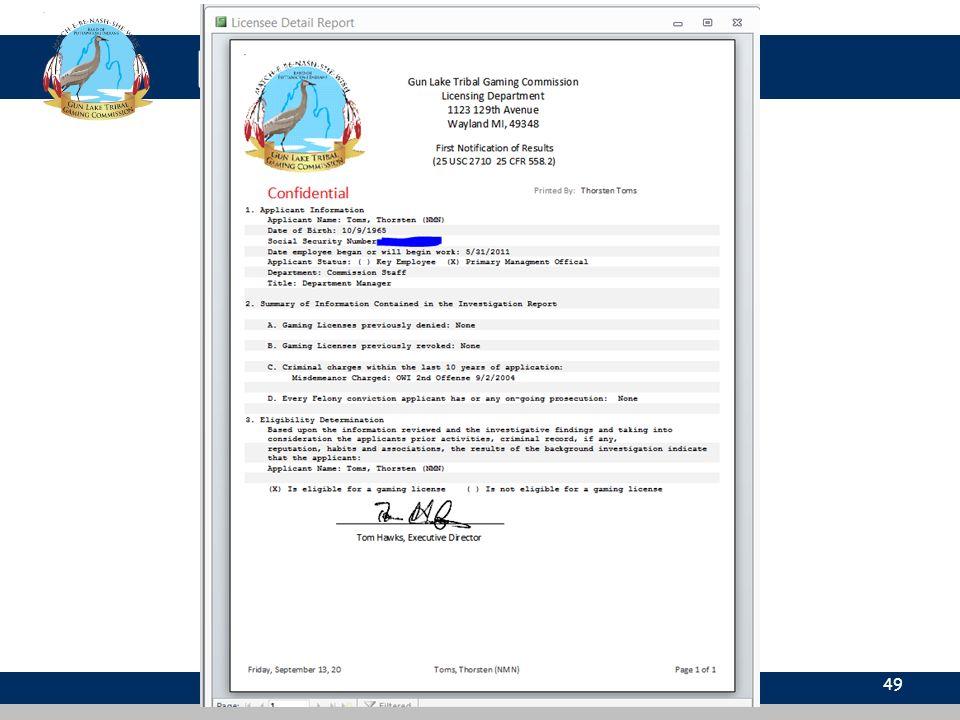 Licensing Database 49