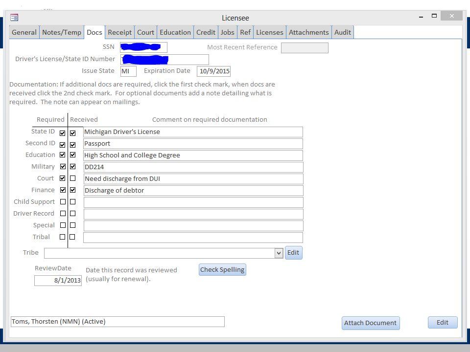 Licensing Database 62